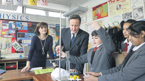 Nicky Morgan visiting a school in London with David Cameron | photo: Press Association Images