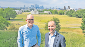 Andrew Sach (L), and Andrew Latimer – with Greenwich Park, Royal Naval College and Canary Wharf in the background